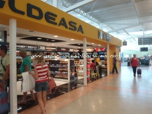 Curacao Airport terminal duty free area. Hato international airport